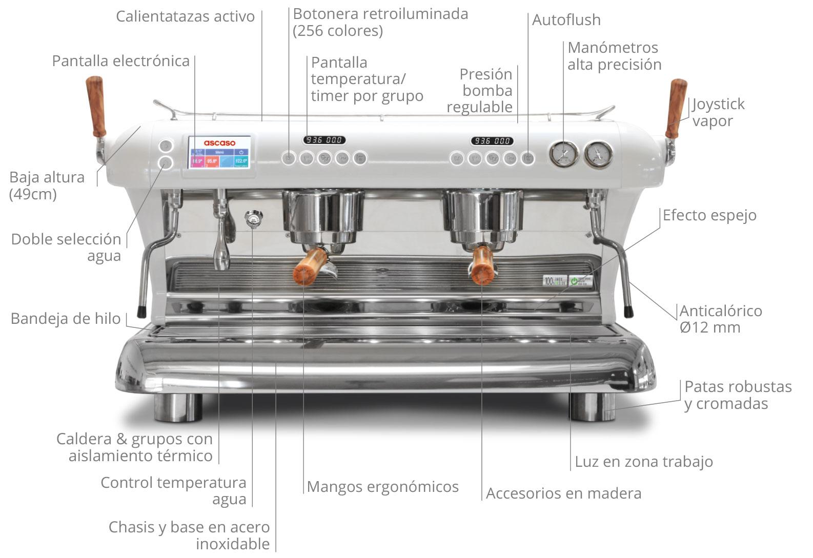 La primera Maquina espresso 100% acero inoxidable para café en el mundo. explica todas las funcionalidades de la maquina